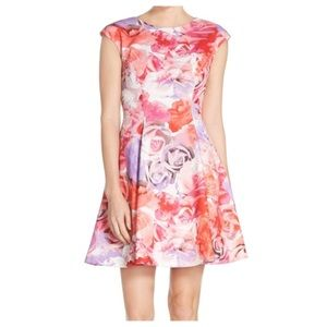 Vince Camuto Pink Floral Cap Sleeve Dress Sz.12